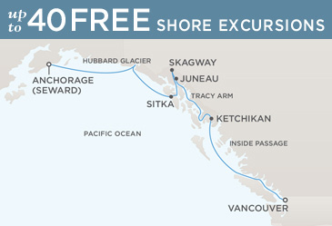 Regent  Cruises Navigator 2014 Map VANCOUVER TO ANCHORAGE (SEWARD)