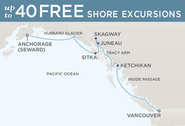 Regent  Cruises Navigator 2014 Map VANCOUVER TO ANCHORAGE (SEWARD