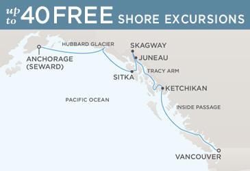 Regent Seven Seas Cruises Navigator 2021 Map VANCOUVER TO ANCHORAGE (SEWARD)