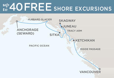 Regent  Cruises Navigator 2014 Map ANCHORAGE (SEWARD) TO VANCOUVER