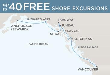 Regent  Cruises Navigator 2014 Map VANCOUVER TO ANCHORAGE (SEWARD)