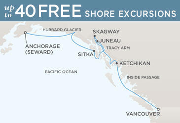 Regent Seven Seas Cruises Navigator 2021 Map ANCHORAGE (SEWARD) TO VANCOUVER