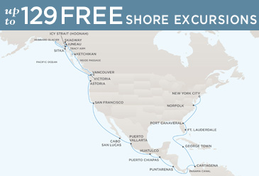 Regent Cruises Navigator 2014 Map VANCOUVER TO NEW YORK CITY