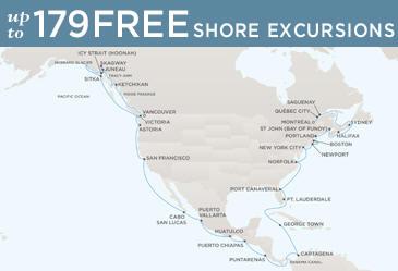 Regent  Cruises Navigator 2019 Map VANCOUVER TO MONTRÉAL