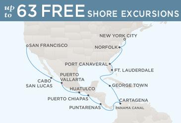 Regent Cruises Navigator 2014 Map SAN FRANCISCO TO NEW YORK CITY