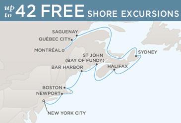 Regent  Cruises Navigator 2014 Map MONTRÉAL TO NEW YORK CITY