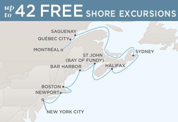 Regent Seven Seas Cruises Navigator 2021 Map NEW YORK CITY TO MONTRÉAL