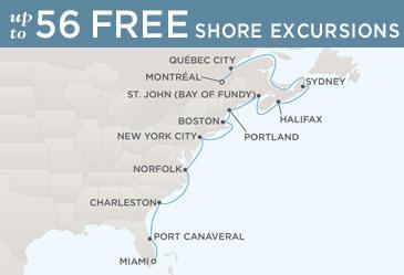 Regent  Cruises Navigator 2014 Map MONTRÉAL TO MIAMI