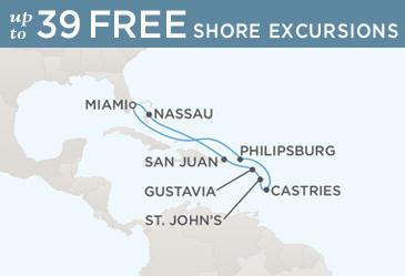 Regent  Cruises Navigator 2019 Map MIAMI TO MIAMI