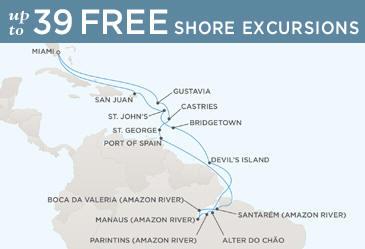 Regent Cruises Navigator 2014 Map MIAMI TO MIAMI