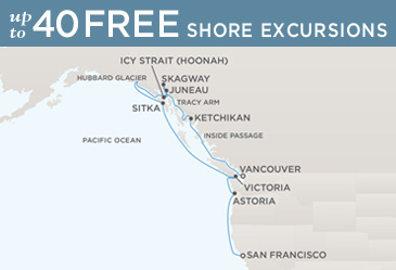 Cruises Around The World Regent Cruises Navigator 2020 Map VANCOUVER TO SAN FRANCISCO