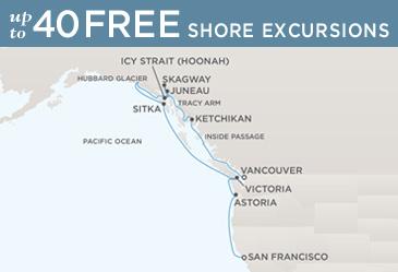 Regent Cruises Navigator 2014 Map VANCOUVER TO SAN FRANCISCO