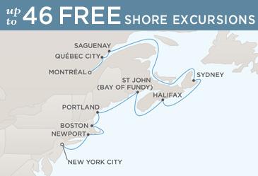 Regent  Cruises Navigator 2014 Map NEW YORK CITY TO MONTRÉAL