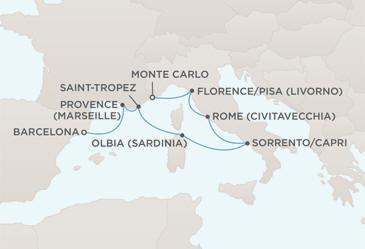 Croisieres de luxe tout-inclus Map - Regent Seven Seas Croisieres Mariner 2022