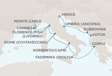 Map - Regent Cruises Mariner 2012