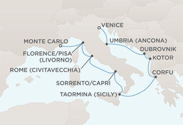 Map - Regent Seven Seas Cruises Mariner 2028