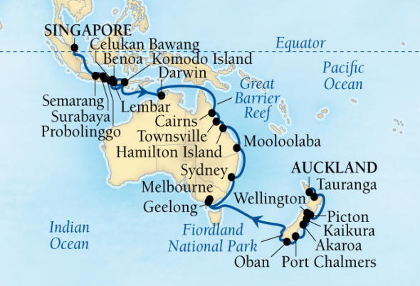 DEALS - SEABOURN Encore Cruise Map Detail Auckland, New Zealand to Singapore February 18 April 1 2027 - 42 Days - Voyage 7716B