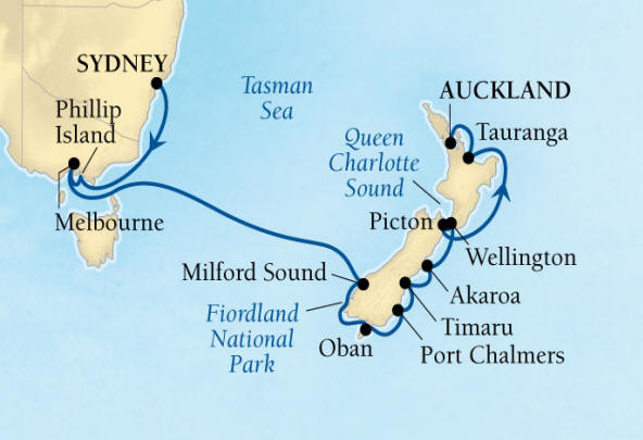 SINGLE Cruise - Balconies-Suites Seabourn Encore Cruise Map Detail Sydney, Australia to Auckland, New Zealand February 2-18 2020 - 16 Nights - Voyage 7715