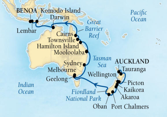 DEALS - SEABOURN Encore Cruise Map Detail Auckland, New Zealand to Benoa (Denpasar), Bali, Indonesia February 18 March 22 2027 - 32 Days - Voyage 7716A