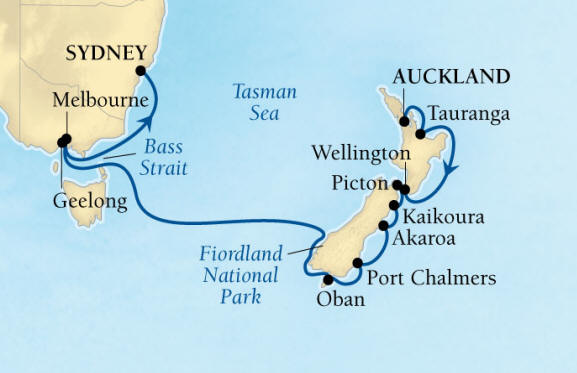 SINGLE Cruise - Balconies-Suites Seabourn Encore Cruise Map Detail Auckland, New Zealand to Sydney, Australia February 18 March 6 2020 - 16 Nights - Voyage 7716