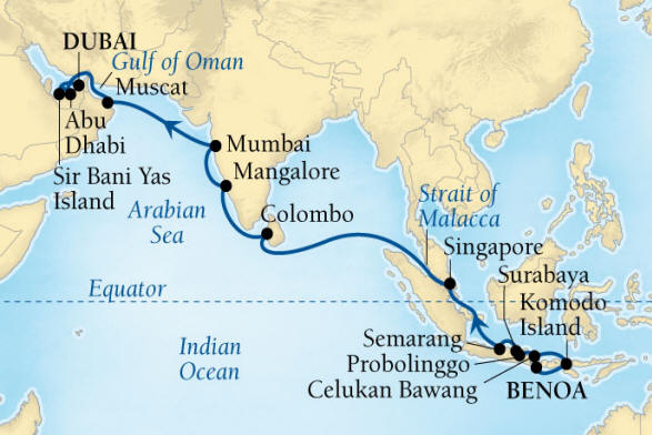Seabourn Encore Cruise Map Detail Benoa (Denpasar), Bali, Indonesia to Dubai, United Arab Emirates March 22 April 17 2017 - 26 Days - Voyage 7721A