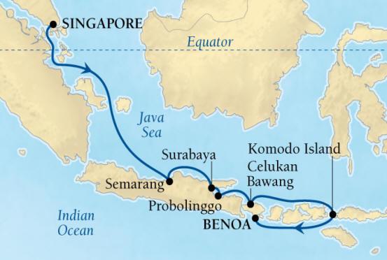 Singles Cruise - Balconies-Suites Seabourn Encore Cruise Map Detail Singapore to Benoa (Denpasar), Bali, Indonesia January 7-17 2020 - 10 Days - Voyage 7710