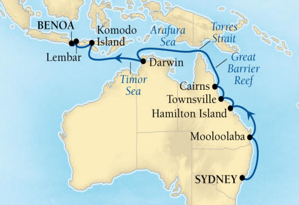 SINGLE Cruise - Balconies-Suites Seabourn Encore Cruise Map Detail Sydney, Australia to Benoa (Denpasar), Bali, Indonesia March 6-22 2020 - 16 Nights - Voyage 7720
