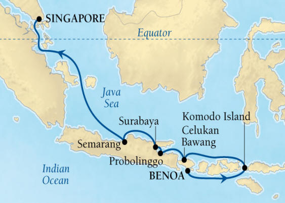 Seabourn Encore Cruise Map Detail Benoa (Denpasar), Bali, Indonesia to Singapore March 22 April 1 2017 - 10 Days - Voyage 7721