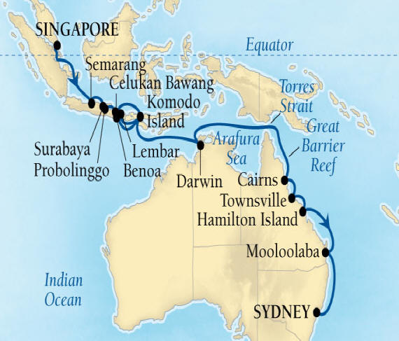 Seabourn Luxury Encore Cruise Map Detail Singapore to Sydney, Australia January 7 February 2 2017 - 26 Days - Schedule 7710A