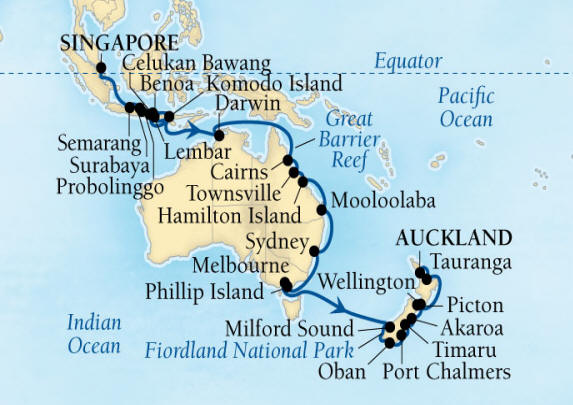 SINGLE Cruise - Balconies-Suites Seabourn Encore Cruise Map Detail Singapore to Auckland, New Zealand January 7 February 18 2020 - 42 Nights - Voyage 7710B