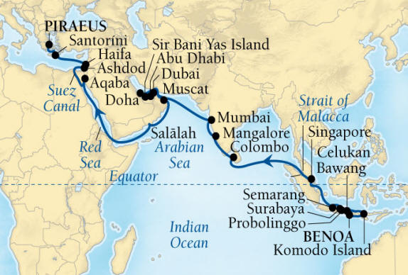 Seabourn Luxury Encore Cruise Map Detail Benoa (Denpasar), Bali, Indonesia to Piraeus (Athens), Greece March 22 May 5 2017 - 44 Days - Voyage 7721B