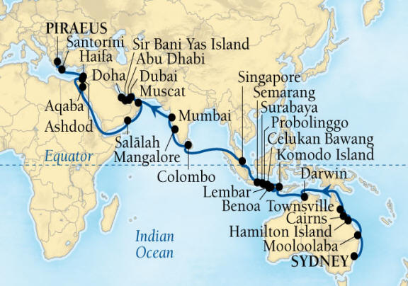 Single-Solo Balconies-Suites Seabourn Encore Cruise Map Detail Sydney, Australia to Piraeus (Athens), Greece March 6 May 5 2022 - 60 Nights - Voyage 7720C