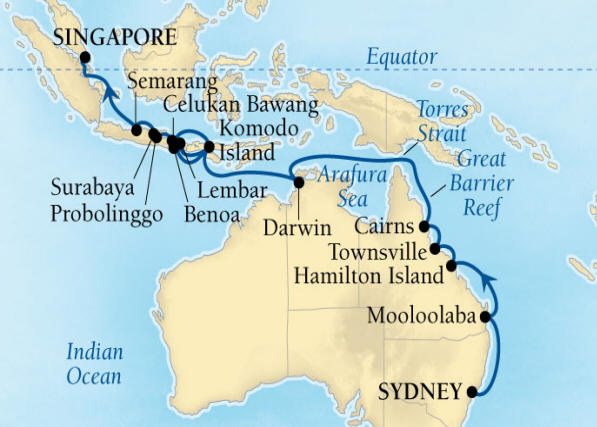 SINGLE Cruise - Balconies-Suites Seabourn Encore Cruise Map Detail Sydney, Australia to Singapore March 6 April 1 2020 - 26 Nights - Voyage 7720A