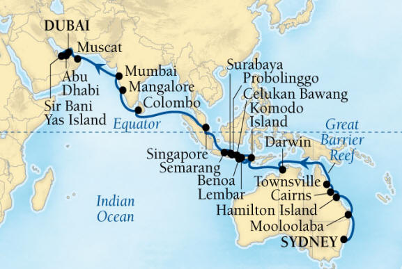 SINGLE Cruise - Balconies-Suites Seabourn Encore Cruise Map Detail Sydney, Australia to Dubai, United Arab Emirates March 6 April 17 2020 - 42 Nights - Voyage 7720B