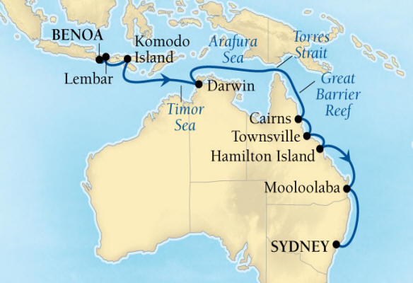 DEALS - SEABOURN Cruise Map Detail Benoa (Denpasar), Bali, Indonesia to Sydney, Australia January 17 February 2 2017 - 16 Days - Voyage 7711