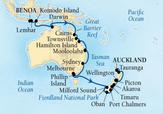 Singles Cruise - Balconies-Suites Seabourn Encore Cruise Map Detail Benoa (Denpasar), Bali, Indonesia to Auckland, New Zealand January 17 February 18 2020 - 32 Days - Voyage 7711A