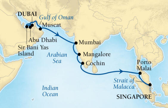 Seabourn Encore Cruise Map Detail Dubai, United Arab Emirates to Singapore December 20 2016 January 7 2017 - 18 Days - Voyage 7680