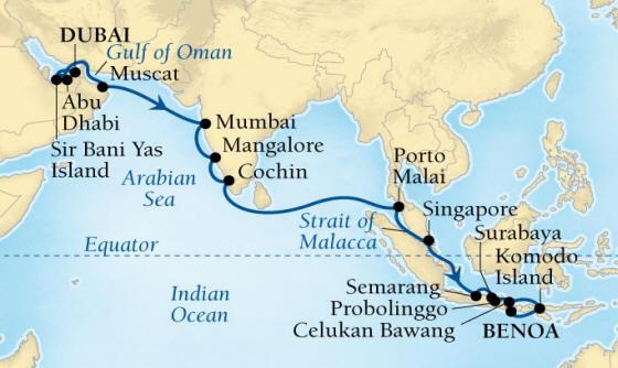 World CRUISE SHIP BIDS - Seabourn Encore CRUISE SHIP Map Detail Dubai, United Arab Emirates to Benoa (Denpasar), Bali, Indonesia December 20 2023 January 17 2022 - 28 Days - Voyage 7680A