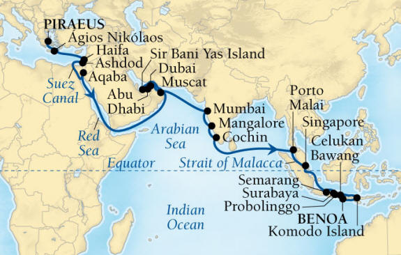 World CRUISE SHIP BIDS - Seabourn Encore CRUISE SHIP Map Detail Piraeus (Athens), Greece to Benoa (Denpasar), Bali, Indonesia December 4 2023 January 17 2022 - 44 Days - Voyage 7679B