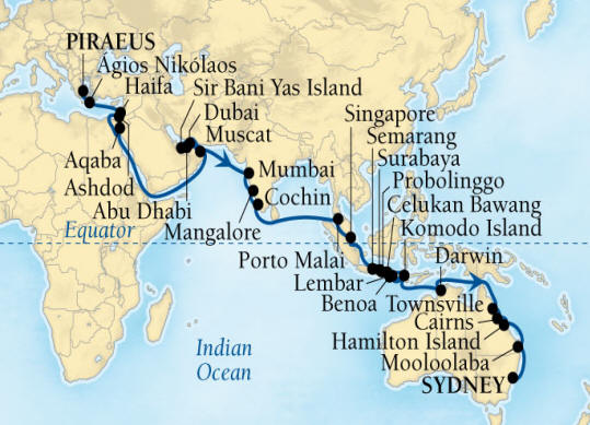 Deluxe Honeymoon Cruises Seabourn Encore Cruise Map Detail Piraeus (Athens), Greece to Sydney, Australia December 4 2023 February 2 2021 - 60 Days - Voyage 7679C