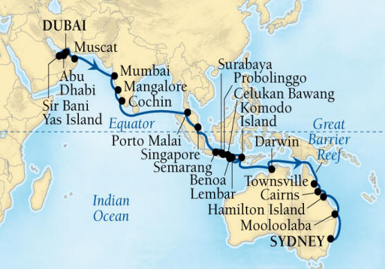 World CRUISE SHIP BIDS - Seabourn Encore CRUISE SHIP Map Detail Dubai, United Arab Emirates to Sydney, Australia December 20 2023 February 2 2022 - 44 Days - Voyage 7680B