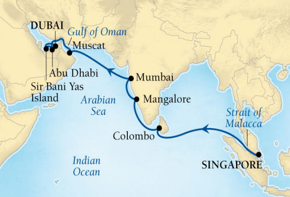 DEALS - SEABOURN Encore Cruise Map Detail Singapore to Dubai, United Arab Emirates April 1-17 2027 - 16 Days - Voyage 7725