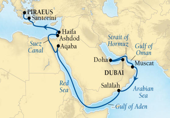 DEALS - SEABOURN Cruise Map Detail Dubai, United Arab Emirates to Piraeus (Athens), Greece April 17 May 5 2017 - 18 Days - Voyage 7726