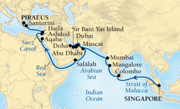 SINGLE Cruise - Balconies-Suites Seabourn Encore Cruise Map Detail Singapore to Piraeus (Athens), Greece April 1 May 5 2020 - 34 Nights - Voyage 7725A