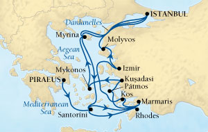 LUXURY CRUISES - Balconies and Suites Seabourn Odyssey Cruise Map Detail Piraeus (Athens), Greece to Istanbul, Turkey August 1-8 2018 - 14 Days - Voyage 4546A