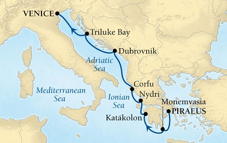 LUXURY CRUISES - Penthouse, Veranda, Balconies, Windows and Suites Seabourn Odyssey Cruise Map Detail Piraeus (Athens), Greece to Venice, Italy August 22-29 2018 - 7 Days - Voyage 4549