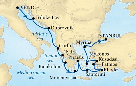 LUXURY CRUISES - Balconies and Suites Seabourn Odyssey Cruise Map Detail Venice, Italy to Istanbul, Turkey August 29 September 12 2018 - 14 Days - Voyage 4553A