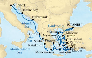 LUXURY WORLD CRUISES - Penthouse, Veranda, Balconies, Windows and Suites Seabourn Odyssey Cruise Map Detail Istanbul, Turkey to Venice, Italy August 8-29 2021 - 21 Days - Voyage 4547B