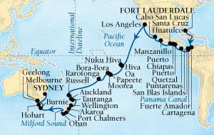 LUXURY CRUISES - Penthouse, Veranda, Balconies, Windows and Suites Seabourn Odyssey Cruise Map Detail Fort Lauderdale, Florida, US to Sydney, Australia December 15 2018 February 13 2019 - 59 Days - Voyage 4574B