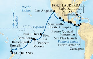 Seabourn Odyssey Cruise Map Detail Fort Lauderdale, Florida, US to Auckland, New Zealand December 15 2015 January 27 2016 - 42 Days - Voyage 4574A